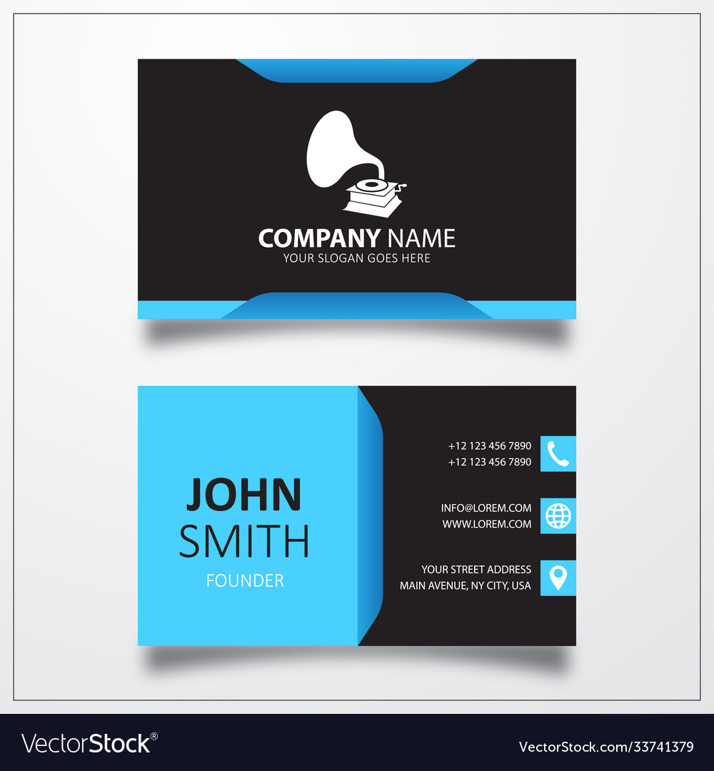 Gramophone icon business card template