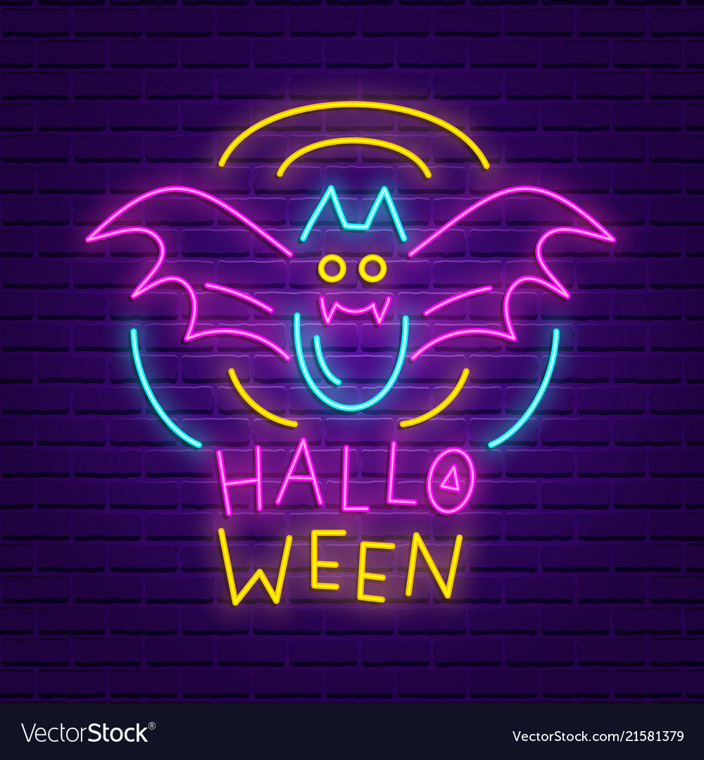 Happy halloween party neon sign bright banner