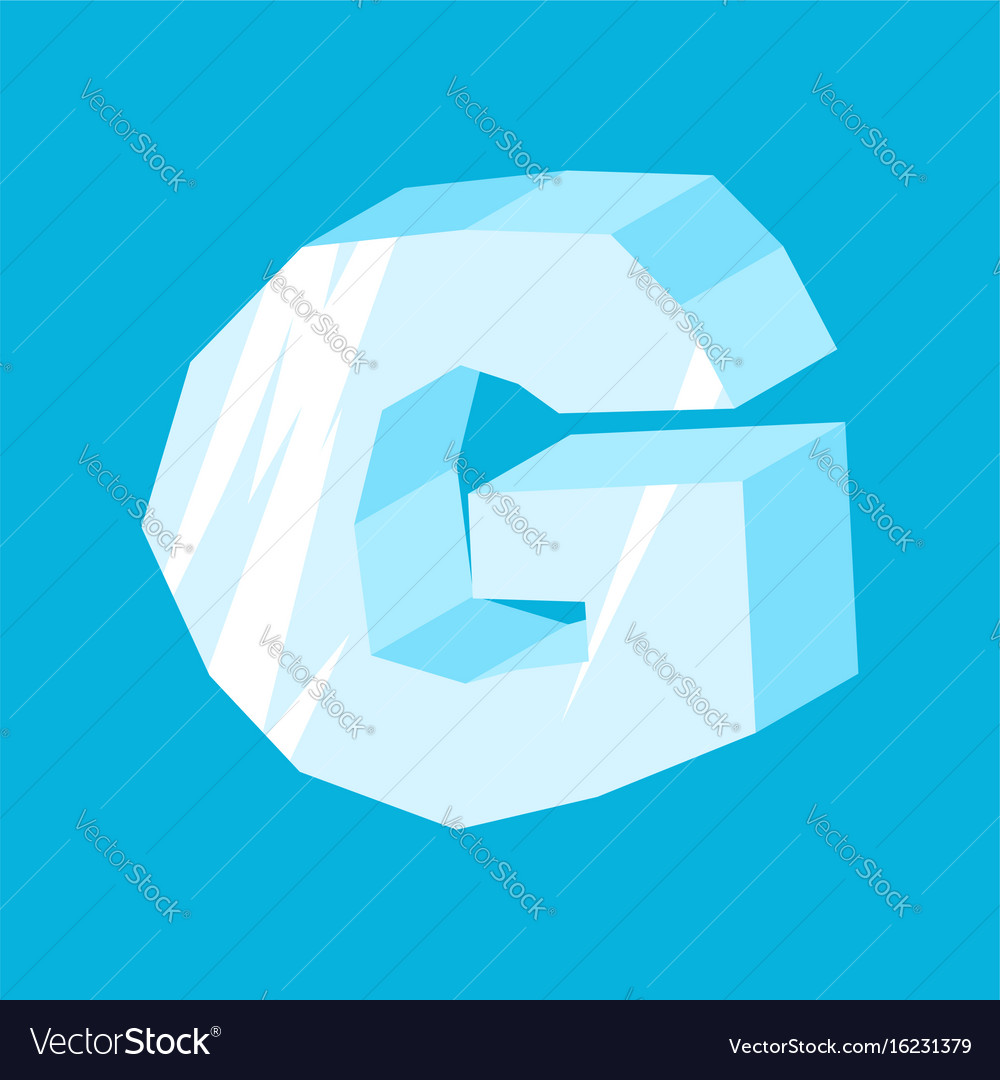 Letter g ice font icicles alphabet freeze vector image