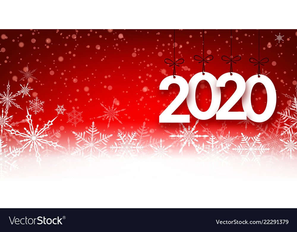red 2020 new year background with snowflakes vector image vectorstock