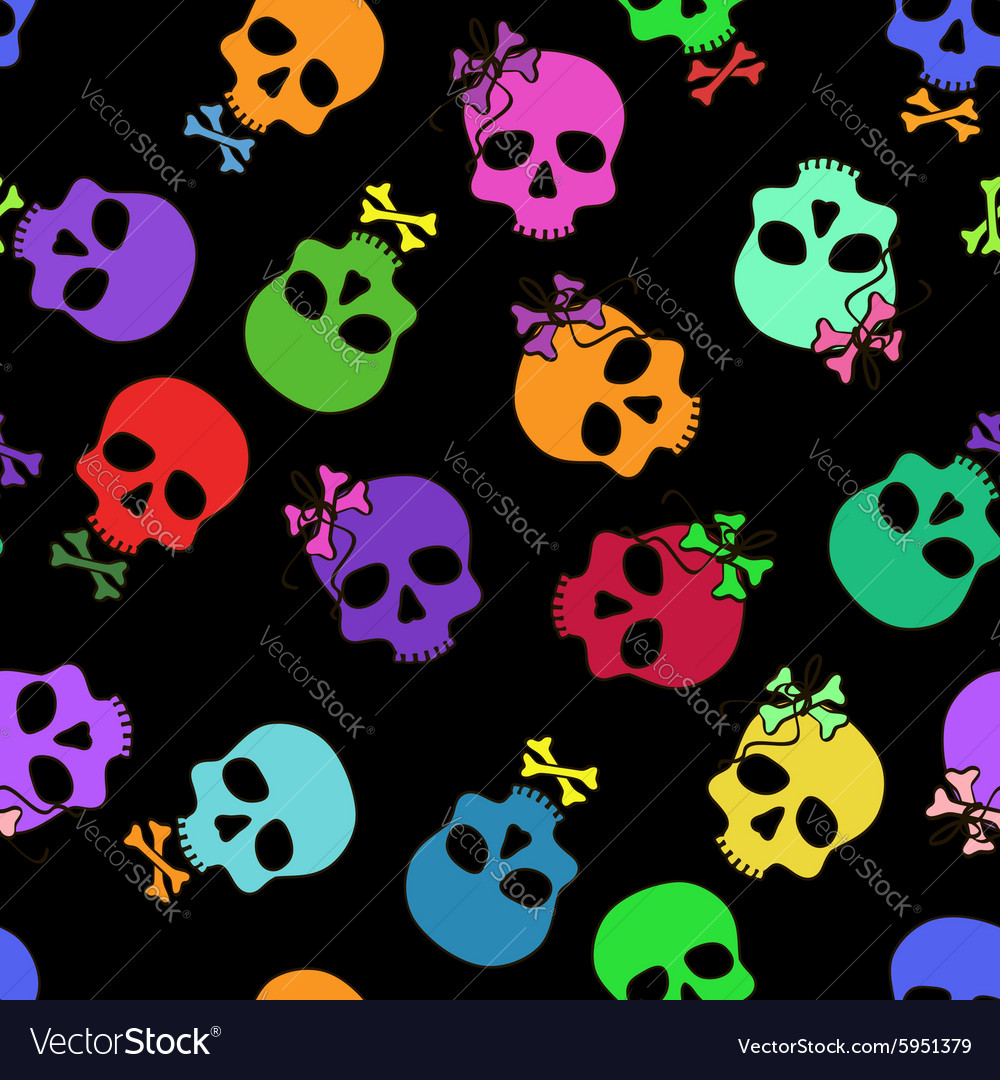 Seamless pattern of funny cartoon skulls vector image