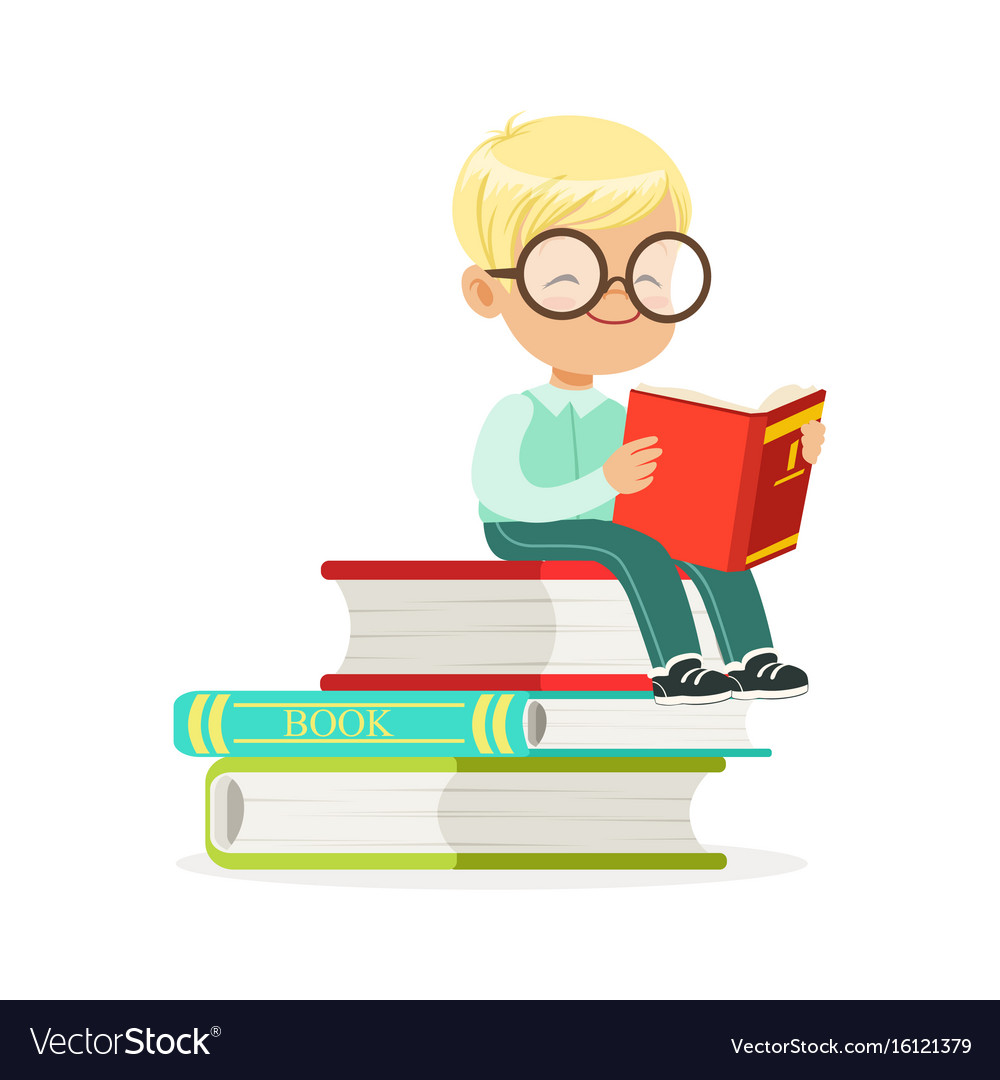 Smart boy sitting on pile of books and reading a