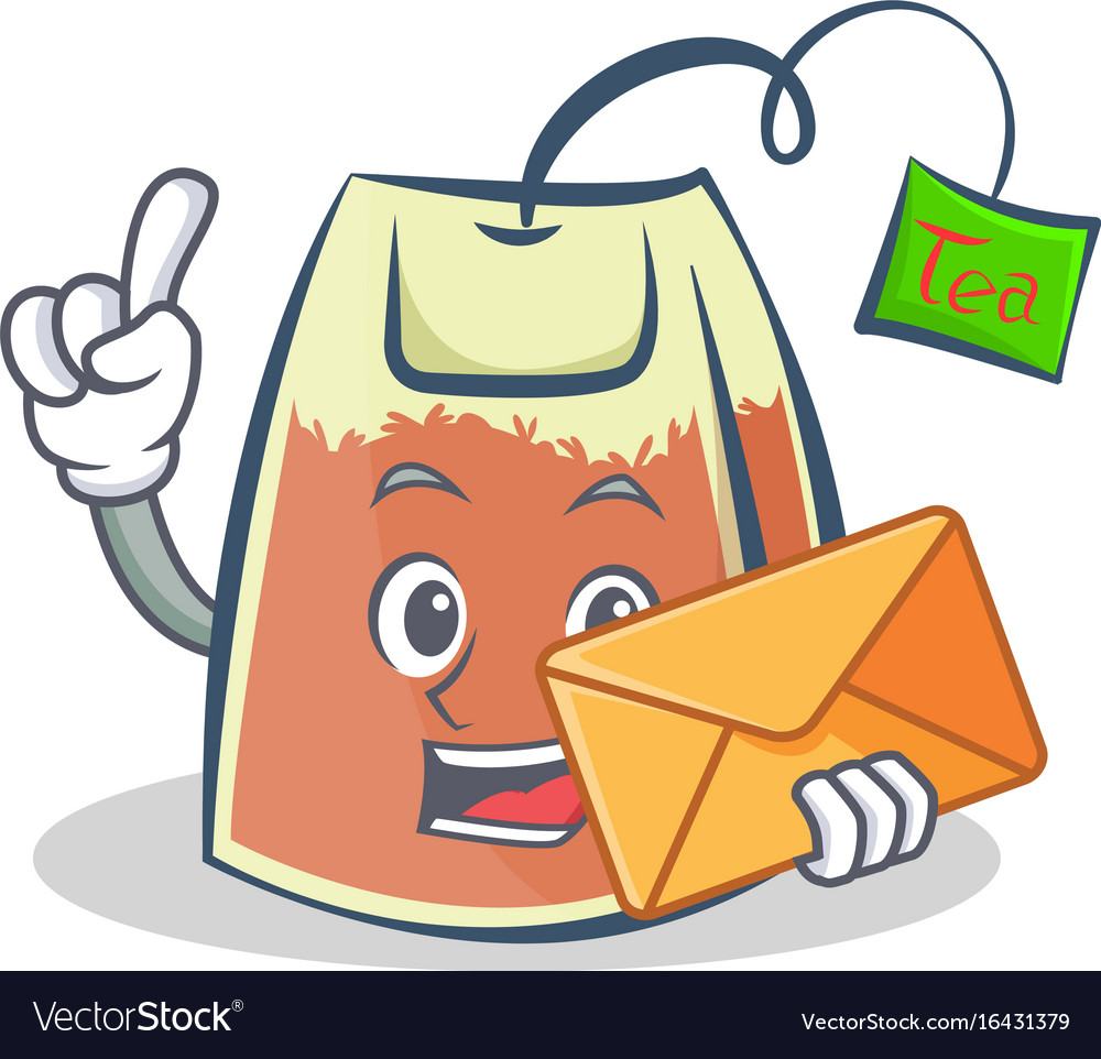 Tea bag character cartoon with envelope