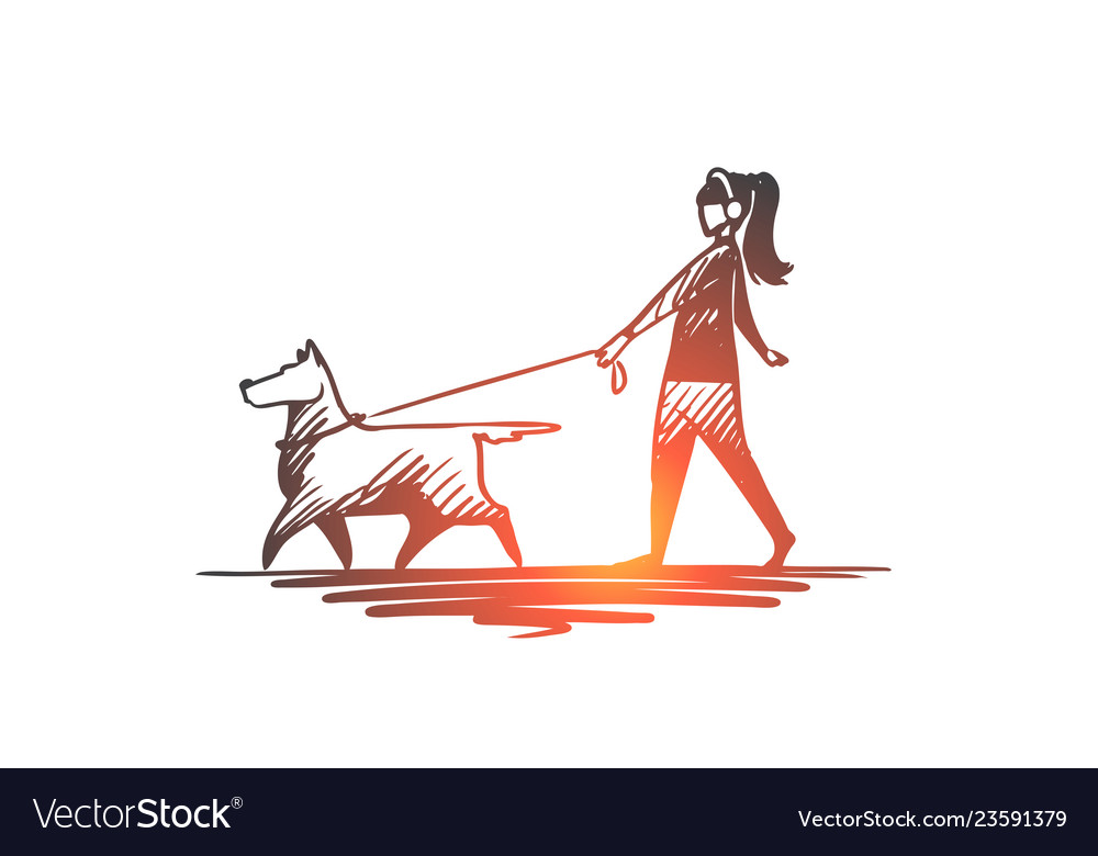 Walk pet dog lifestyle darling concept hand