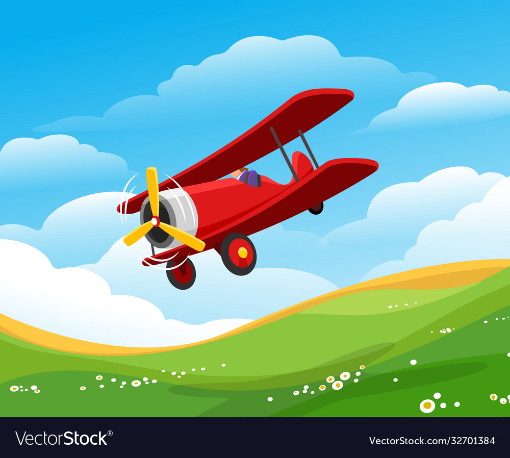 Cartoon flying airplane