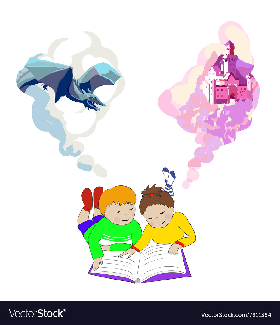 Children lying and reading book Kids imagination