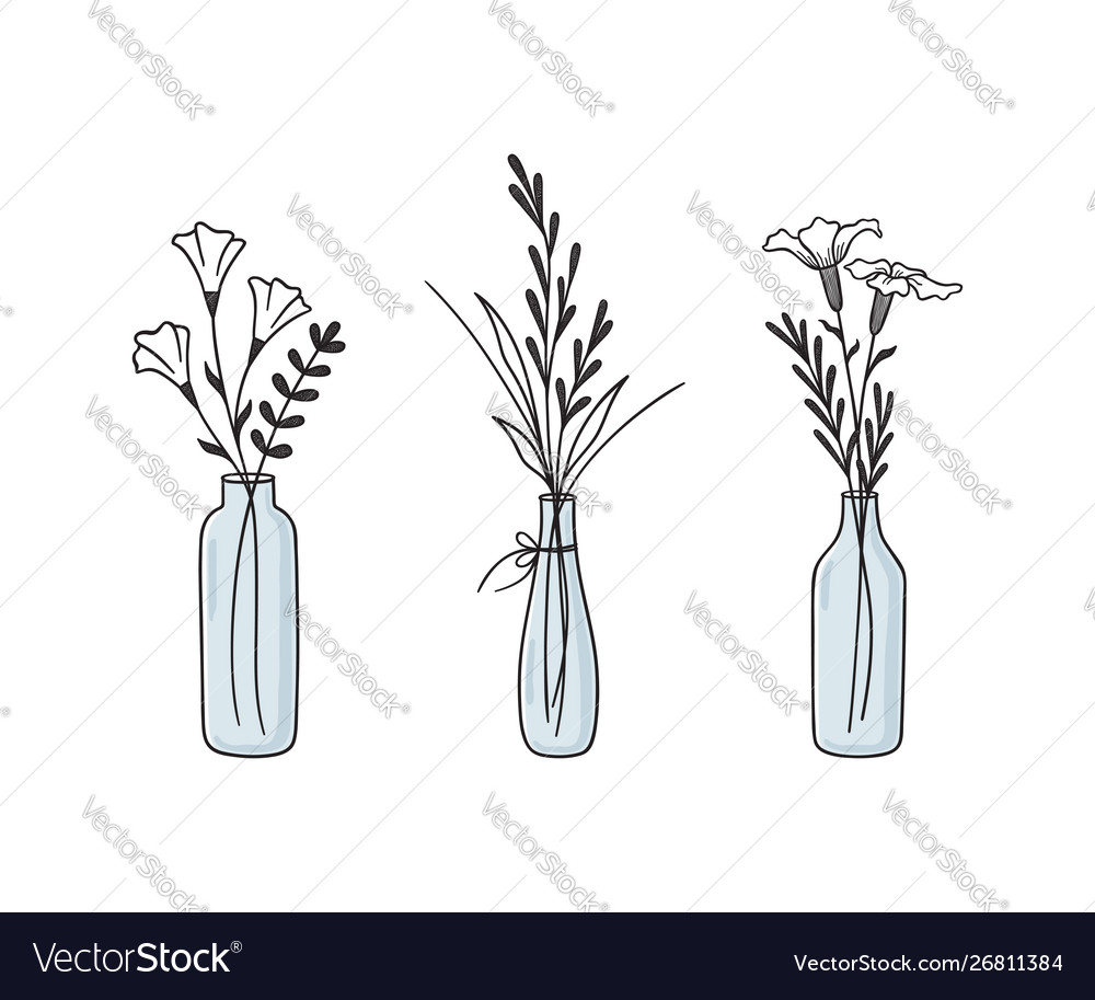 Floral compositions in vases and bottles