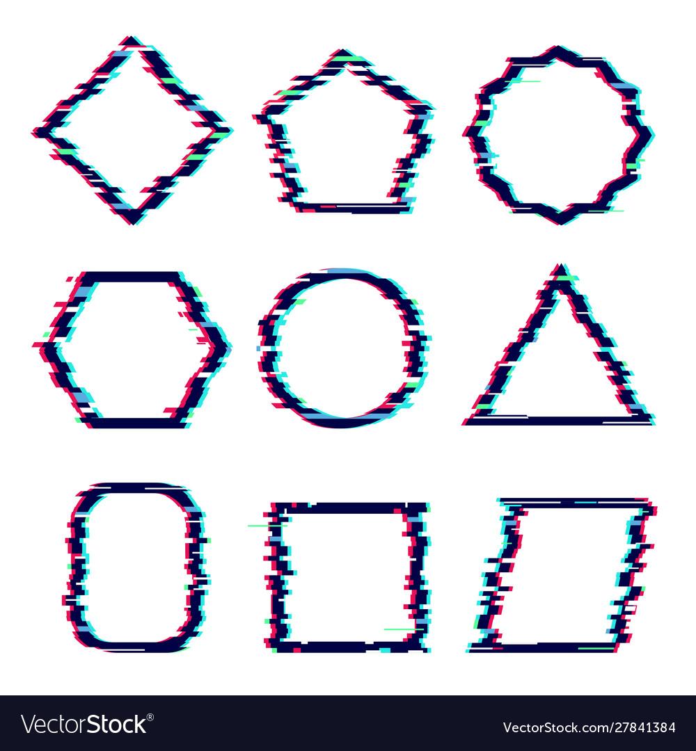 Glitch frames distortion rectangular cyber