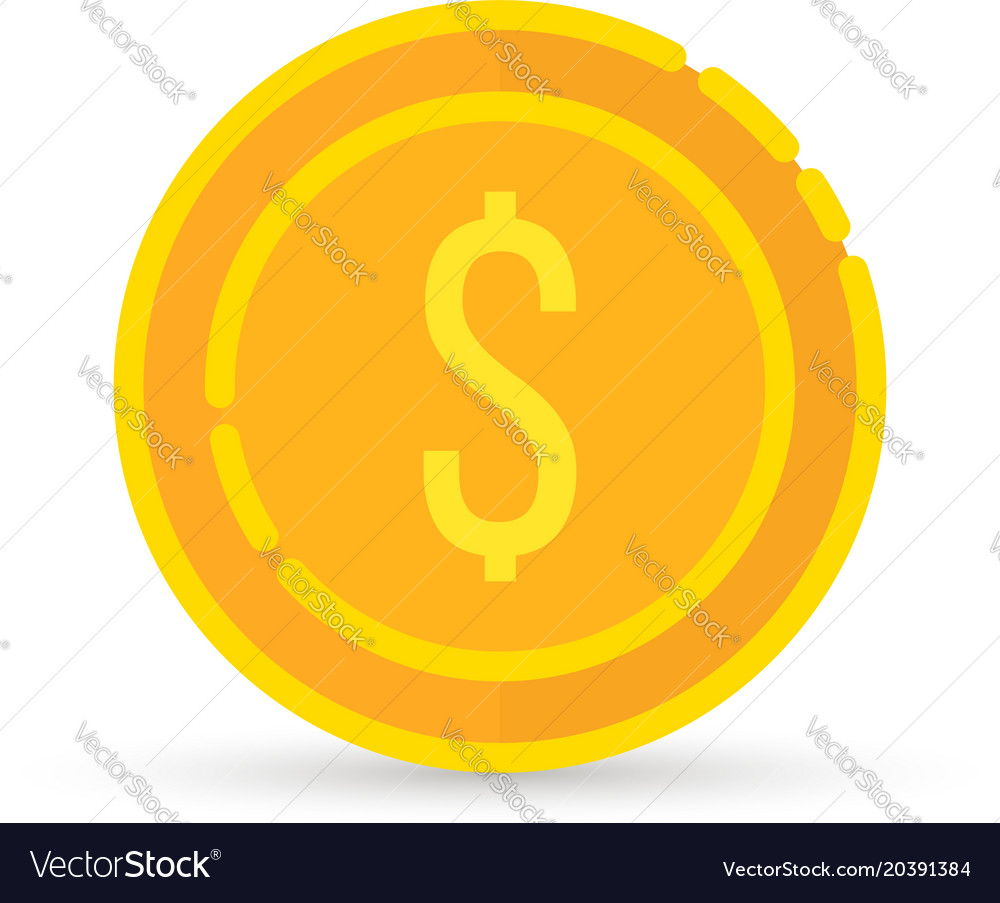 Golden dollar coin sign with shadow vector image