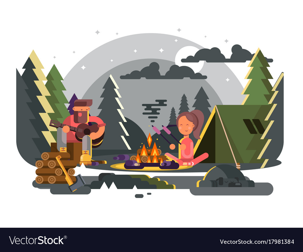 Man and woman in camp near fire
