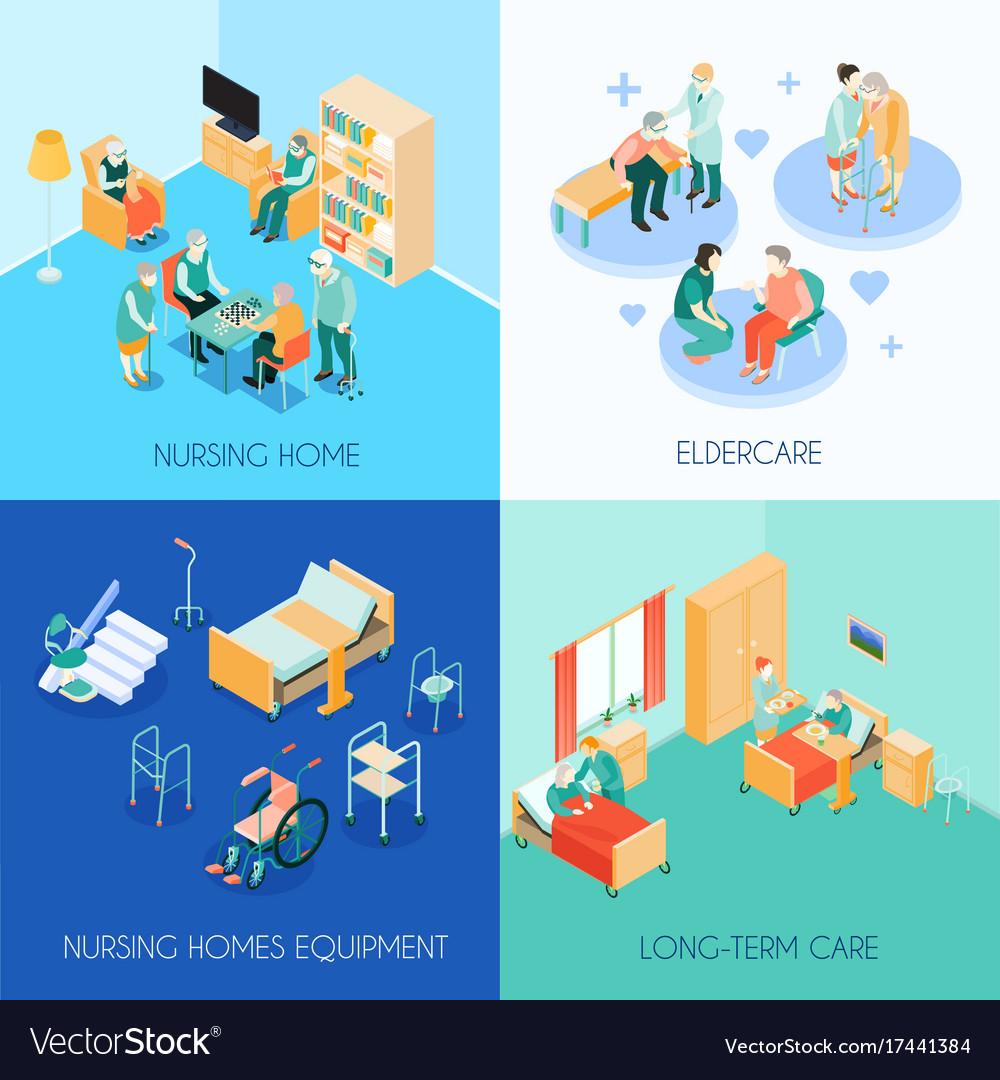 Nursing care concept isometric icons