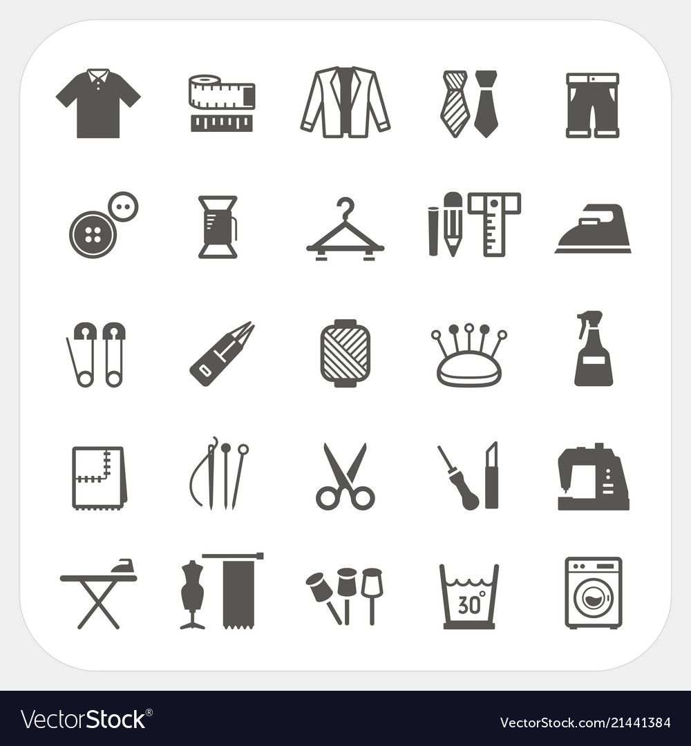 Sewing equipment icons set isolated on white