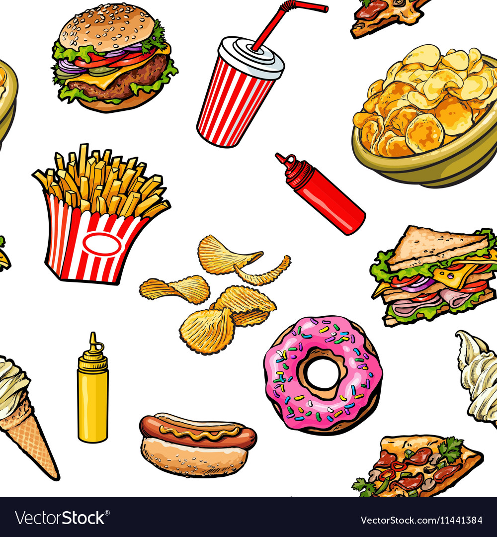Sketch hand drawn fast food seamless pattern on