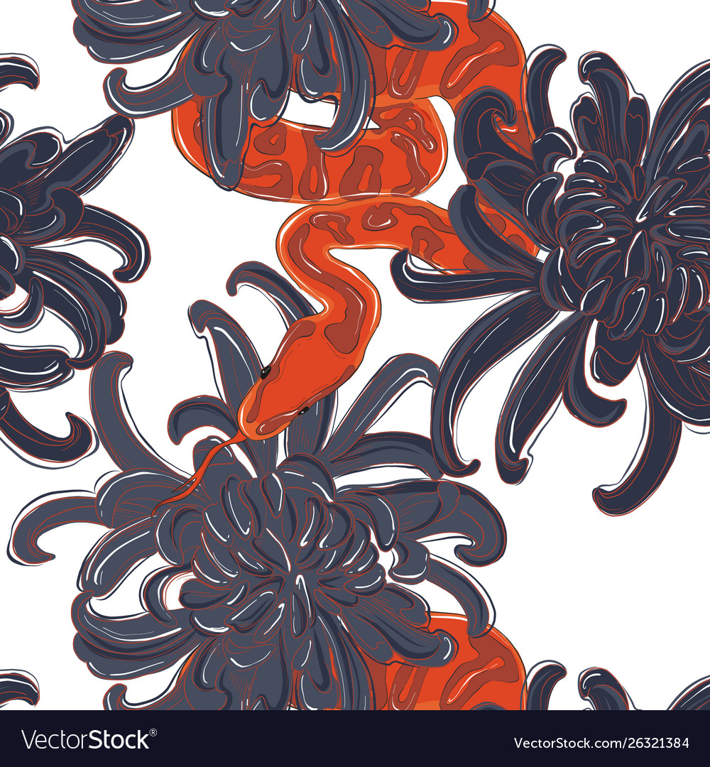 Snake and flowers pattern contrst red snake and