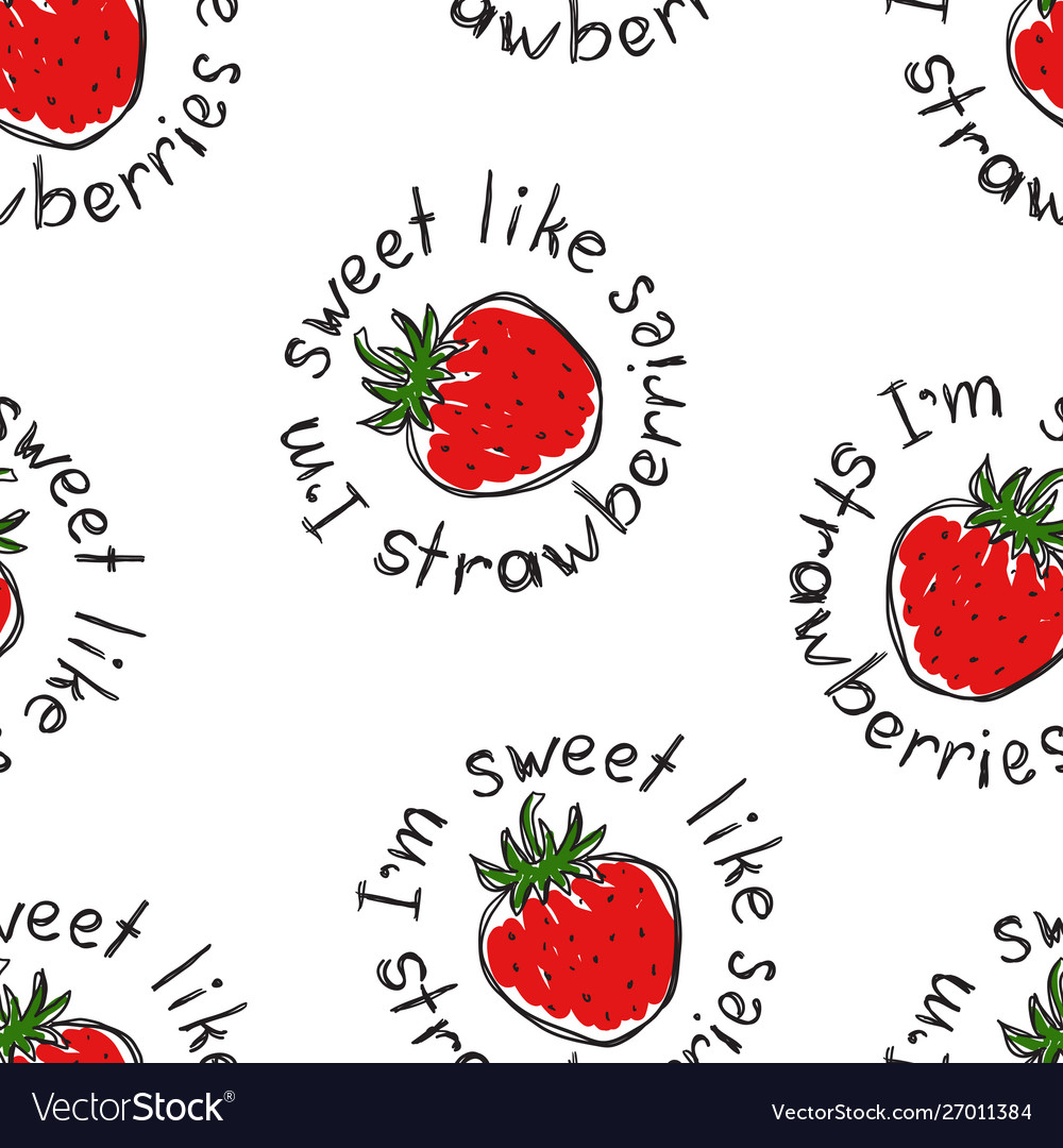 The pattern strawberries and text i am a sweet
