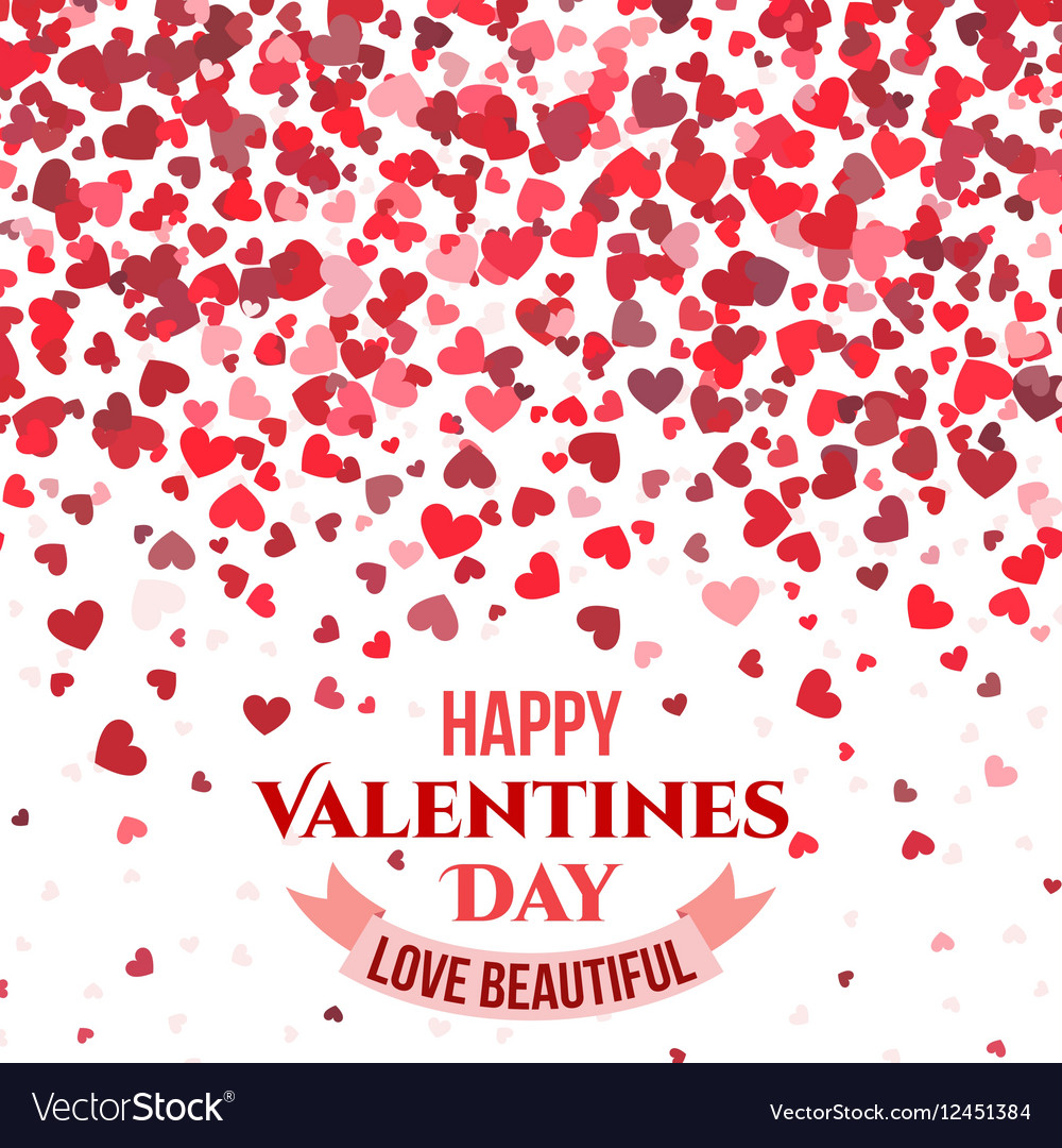 Valentine day red background with falling hearts vector image