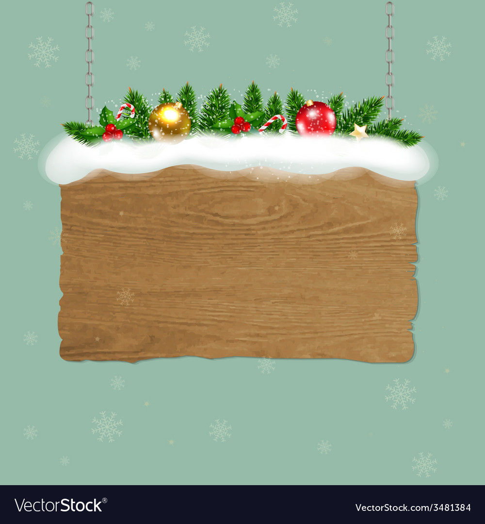 Wooden Sign With Fir Tree