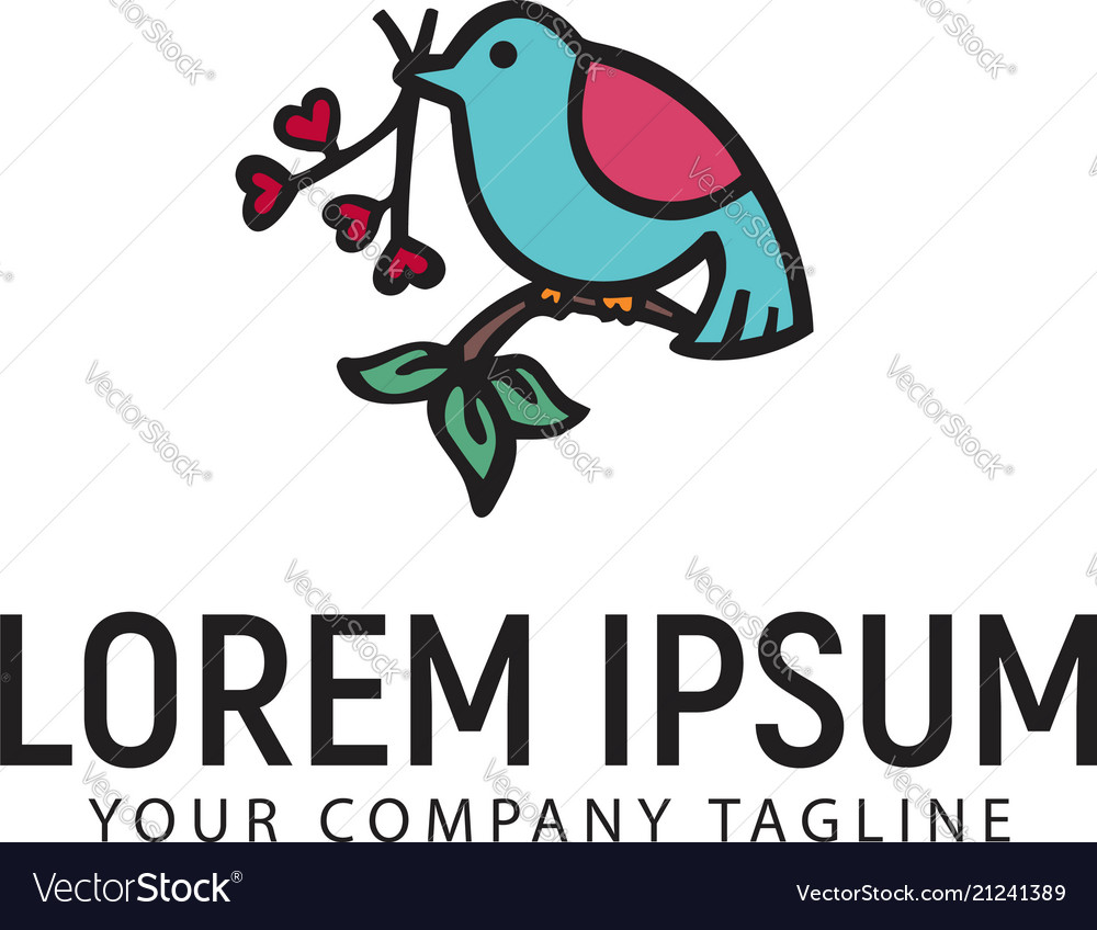 Bird with flowers hand drawn logo design concept