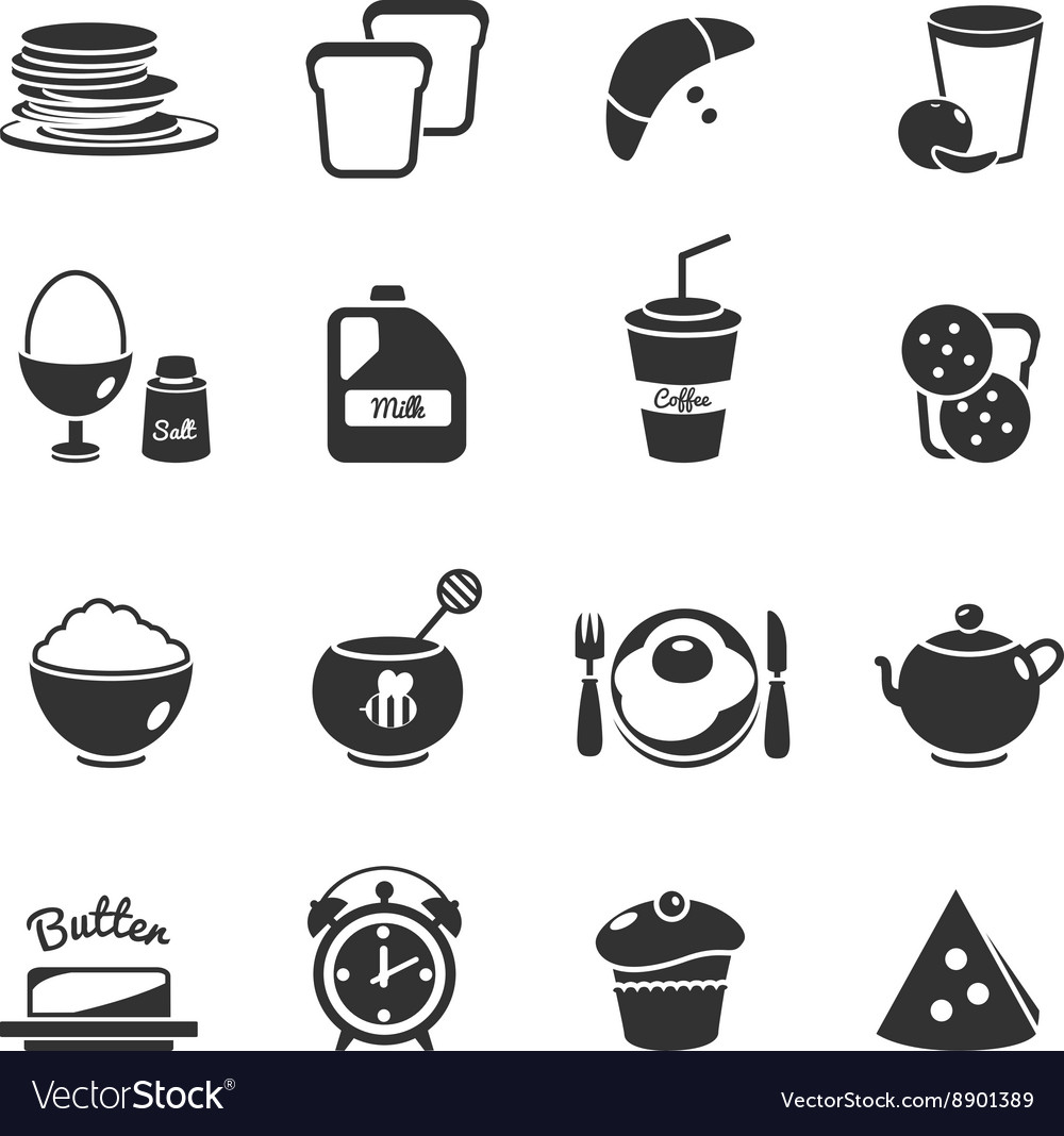 Breakfast Black Icon Set vector image