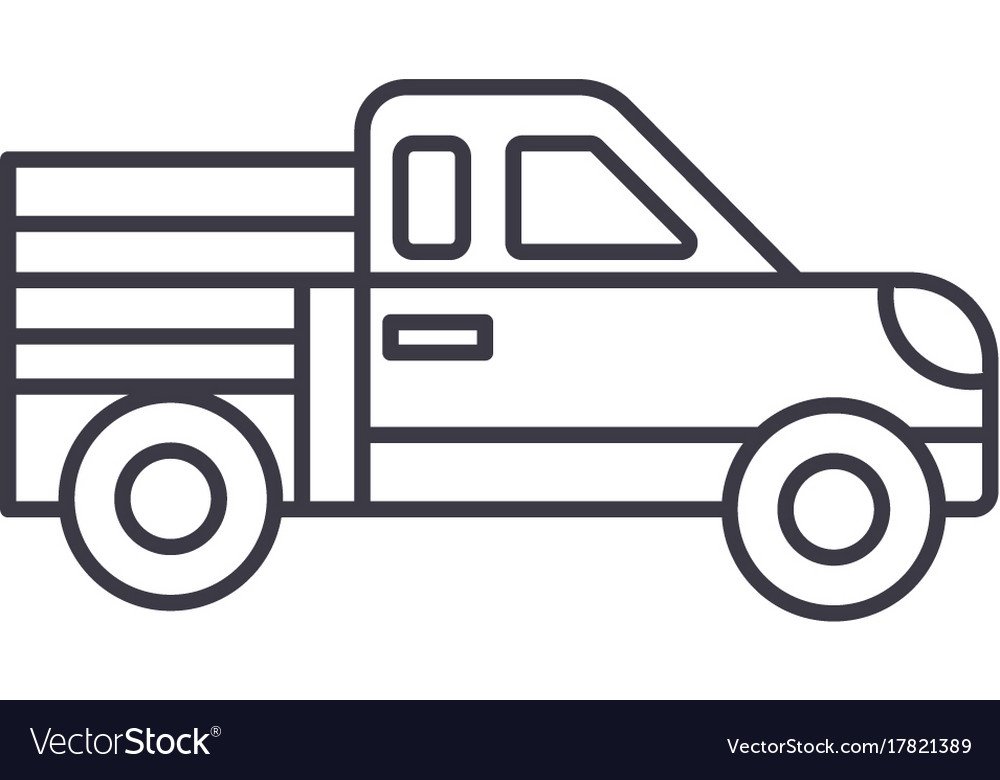 Car Pickup Line Icon Sign On