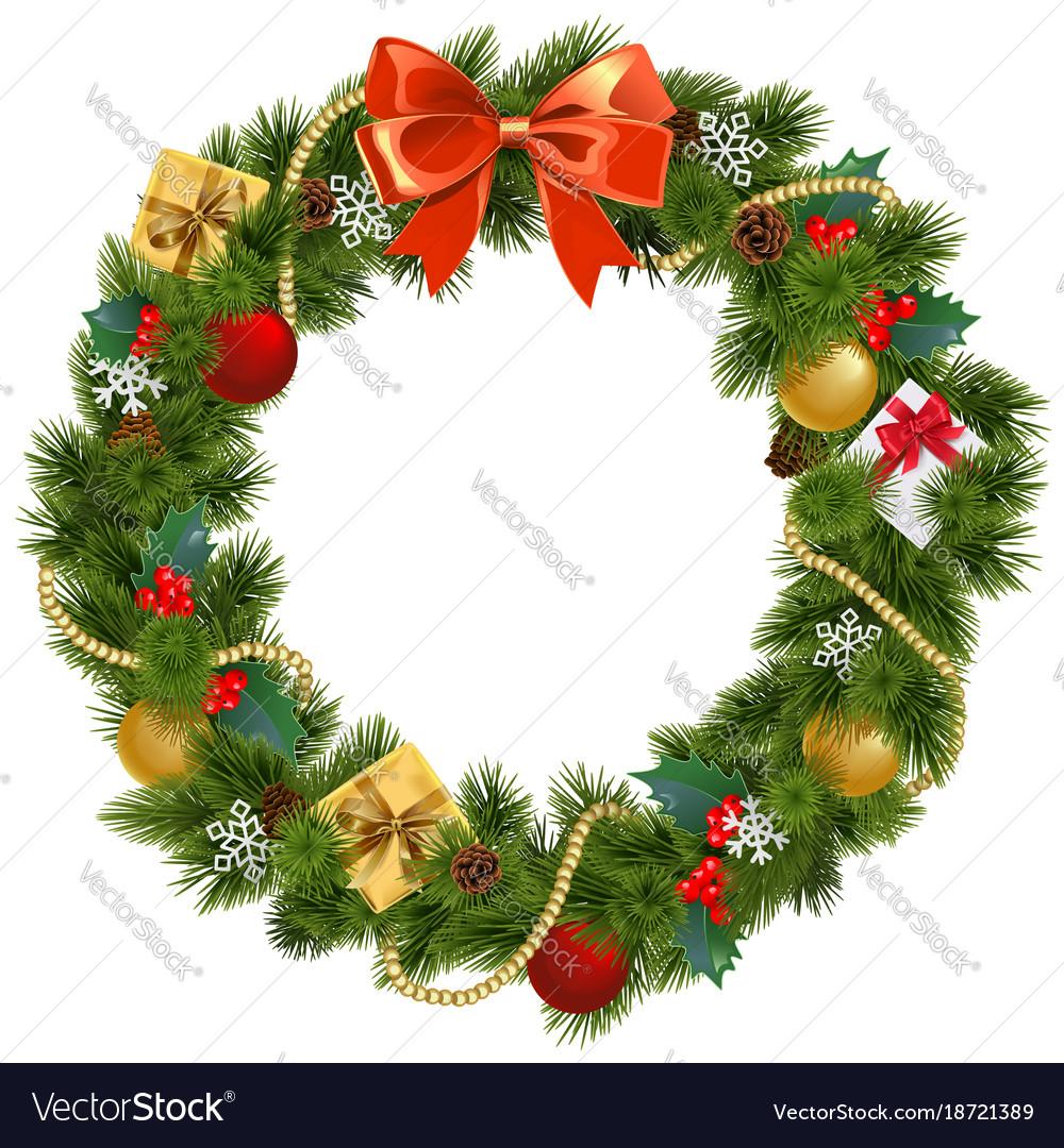 Christmas wreath with mistletoe Royalty Free Vector Image