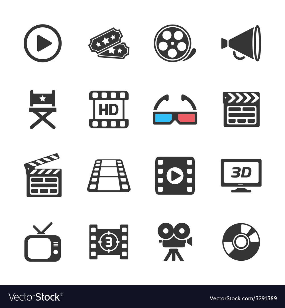 Cinema and movie icons white