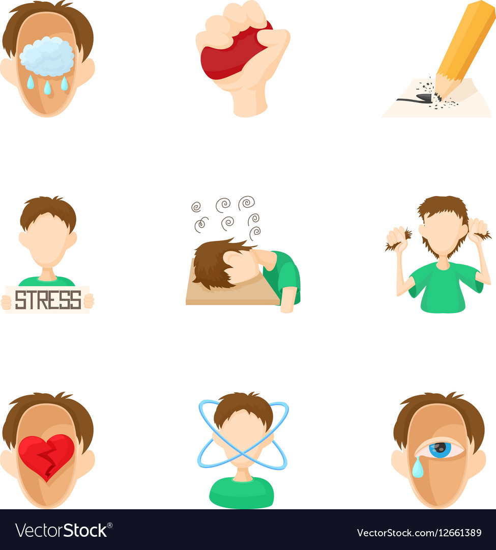 Emotional feelings icons set cartoon style vector image