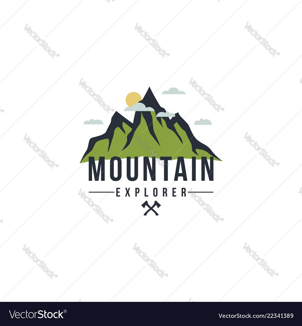 Forest mountain adventure badge logo