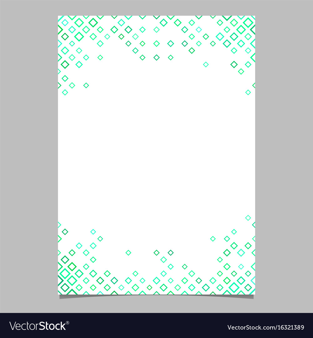 Green diagonal square pattern page template vector image