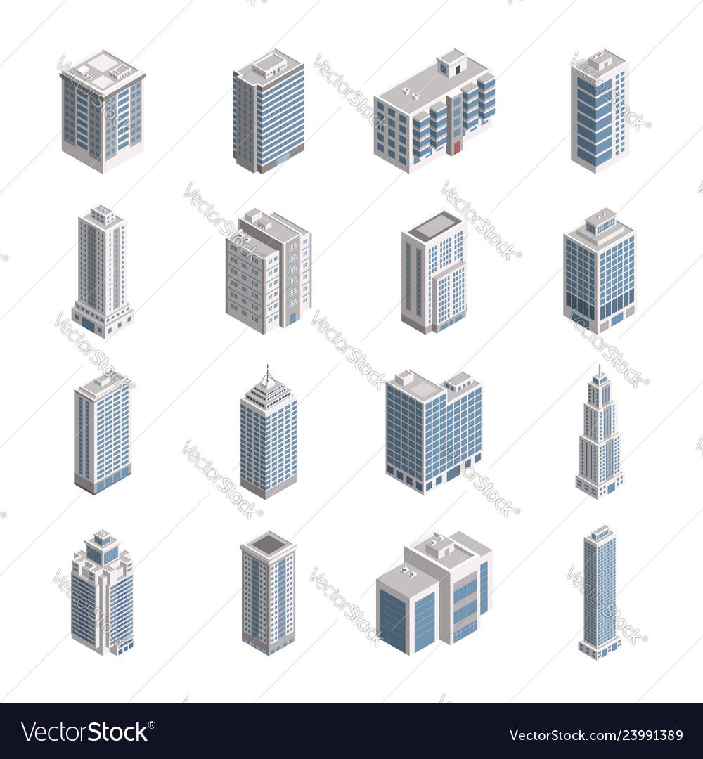 Isometric city building set