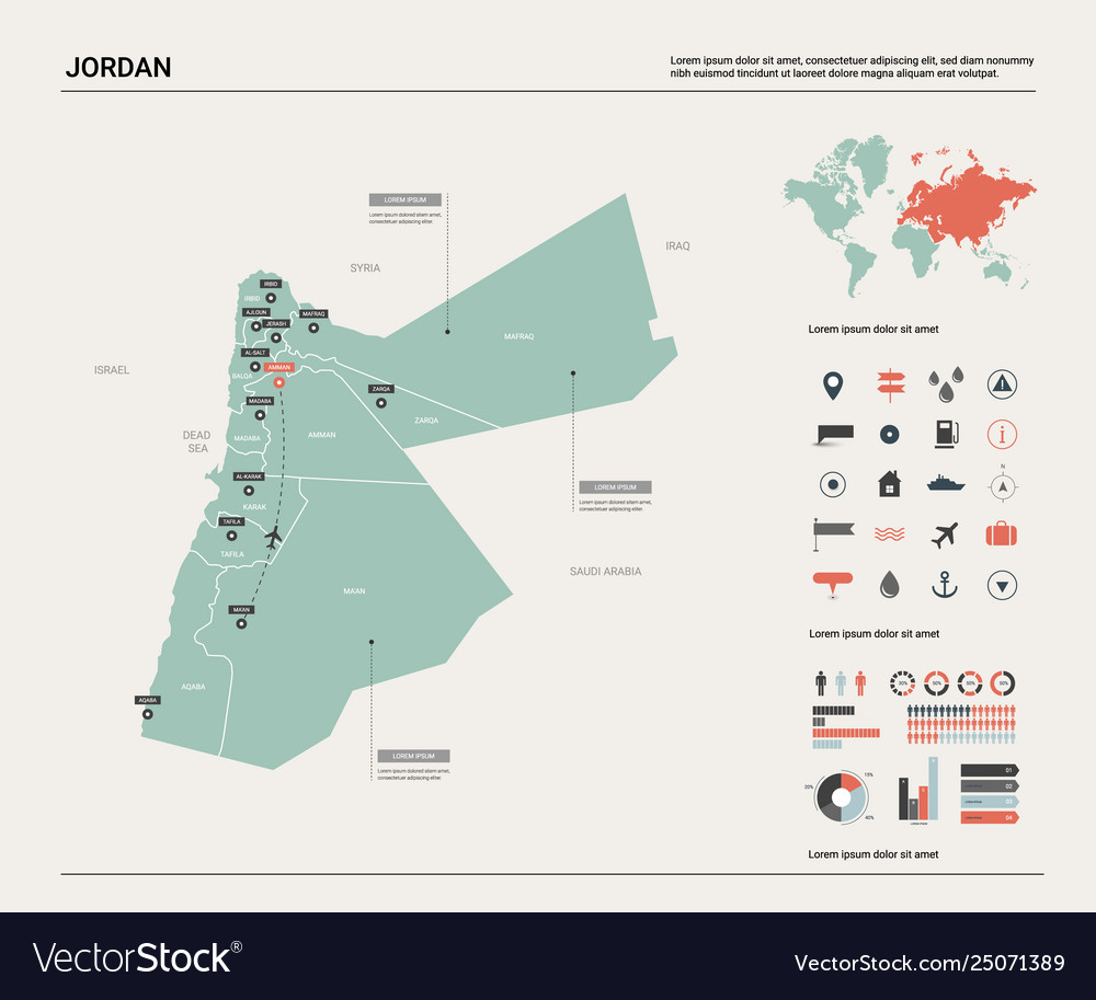Map jordan high detailed country map with Vector Image