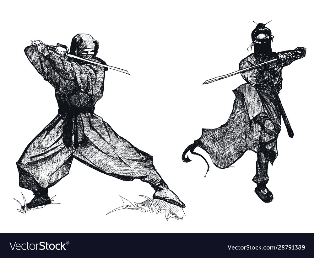 Ninja Characters Wearing Mask In Fighting Pose Vector Image