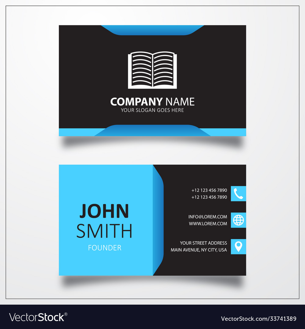 Open book icon business card template