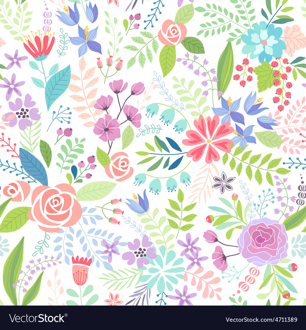 Seamless Floral colorful hand drawn pattern