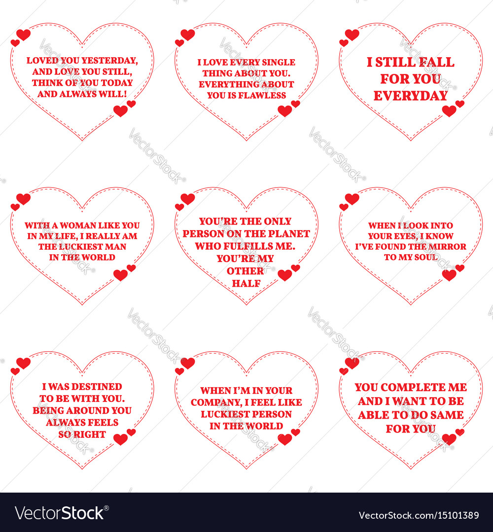 Set Of Love Wishes Quotes Over White Background Vector Image