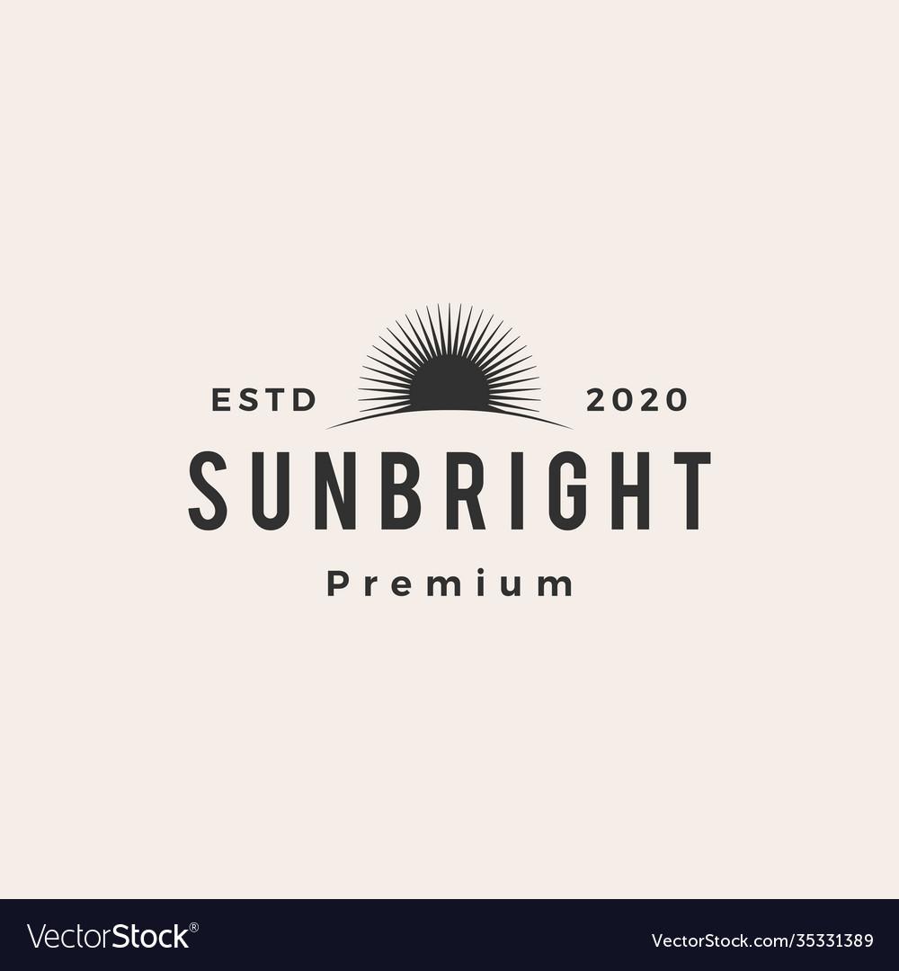 Sun bright hipster vintage logo icon
