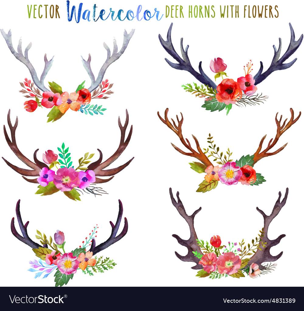 Watercolor deer horns with flowers
