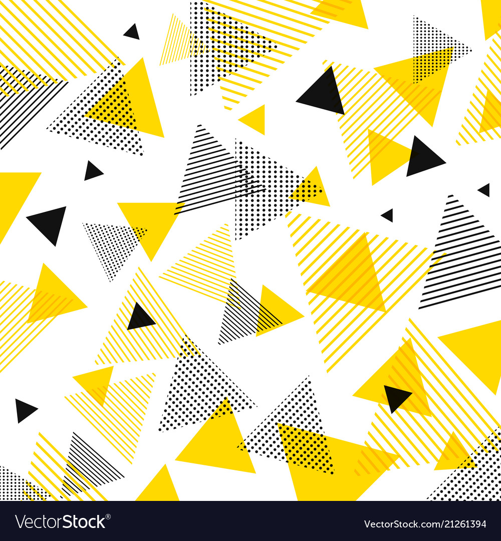 Abstract modern yellow black triangles pattern