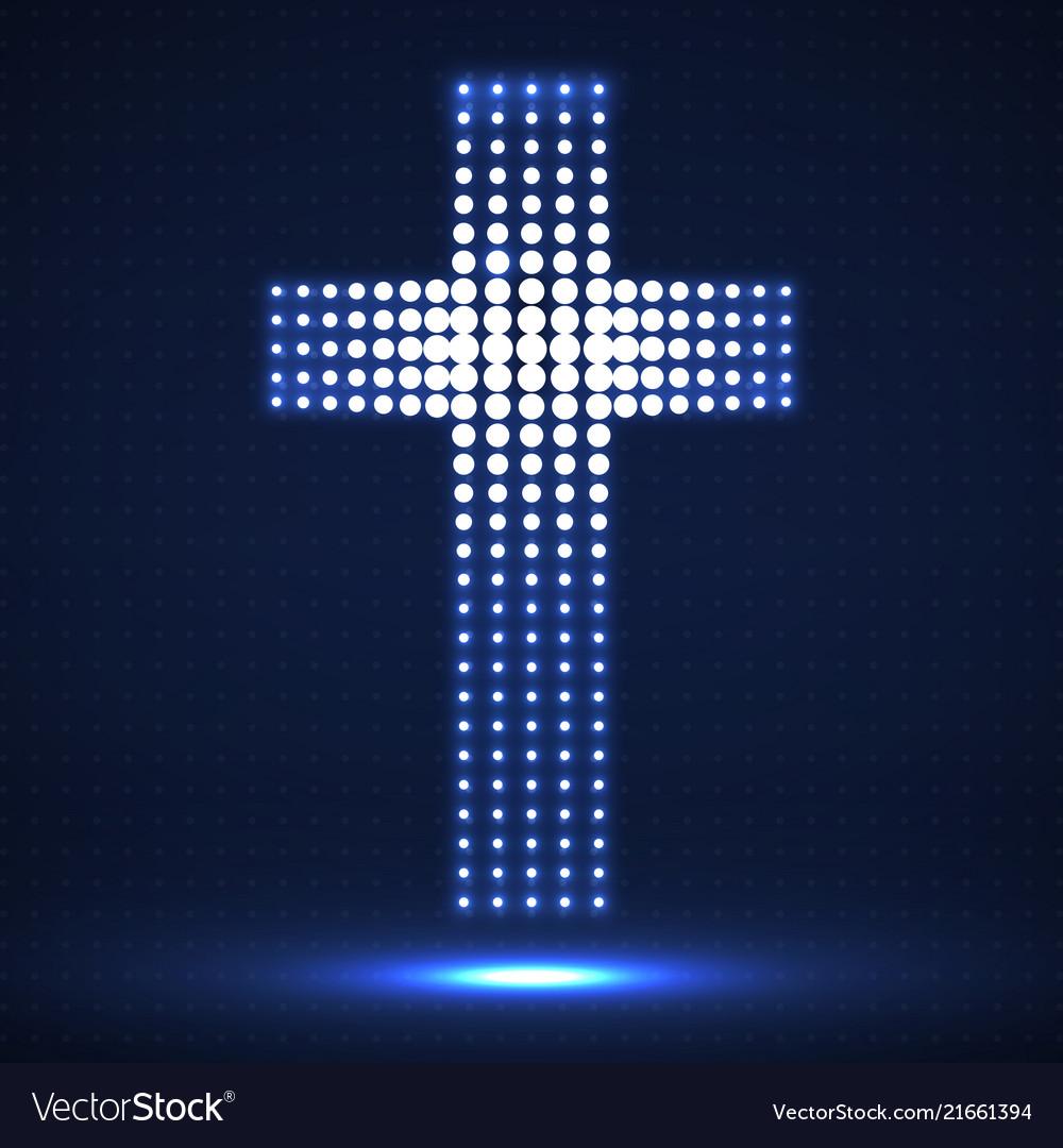 Abstract neon halftone cross christian symbol