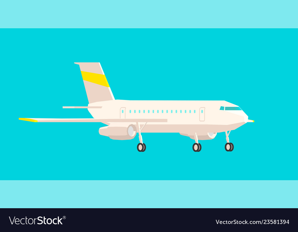Airplane side view on a blue background