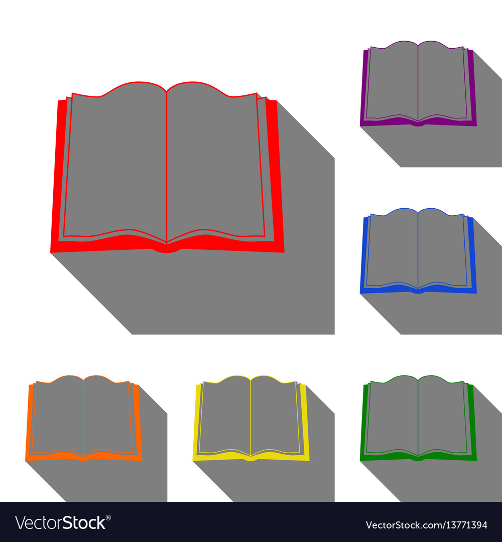 Book sign set of red orange yellow green blue