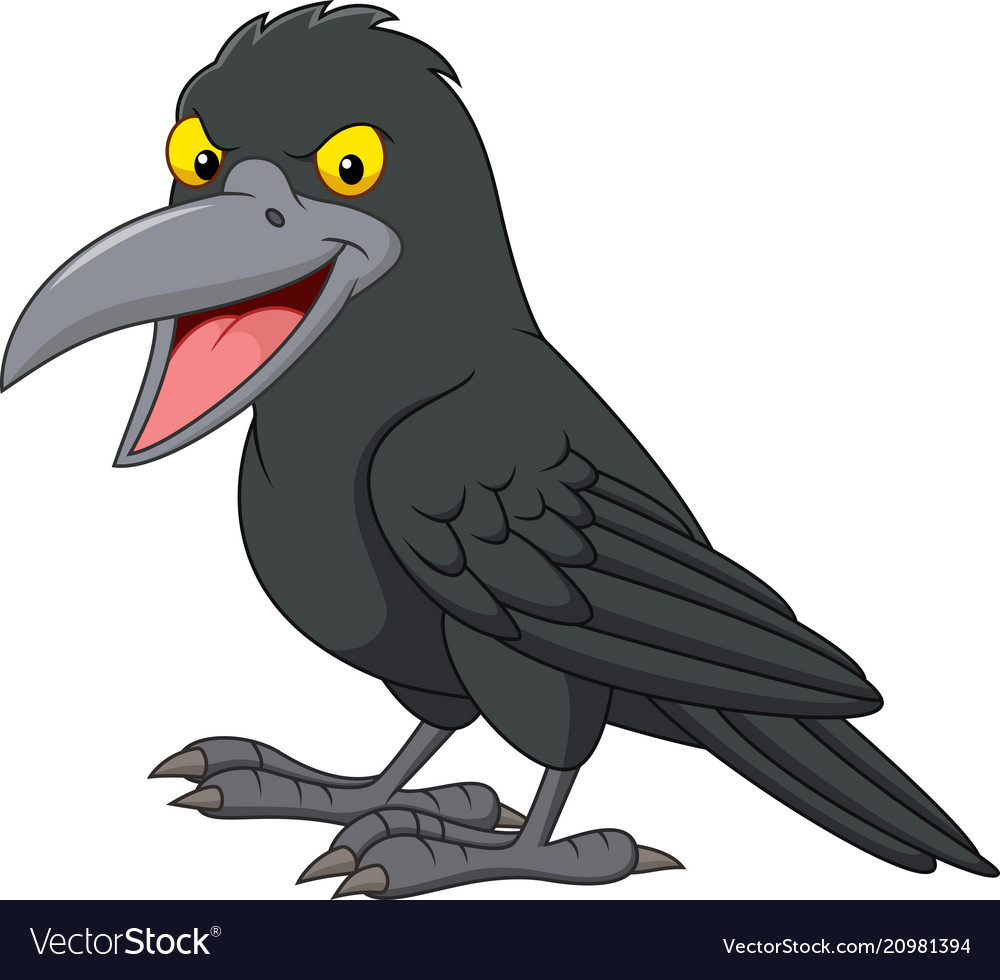 Cartoon crow isolated on white background vector image