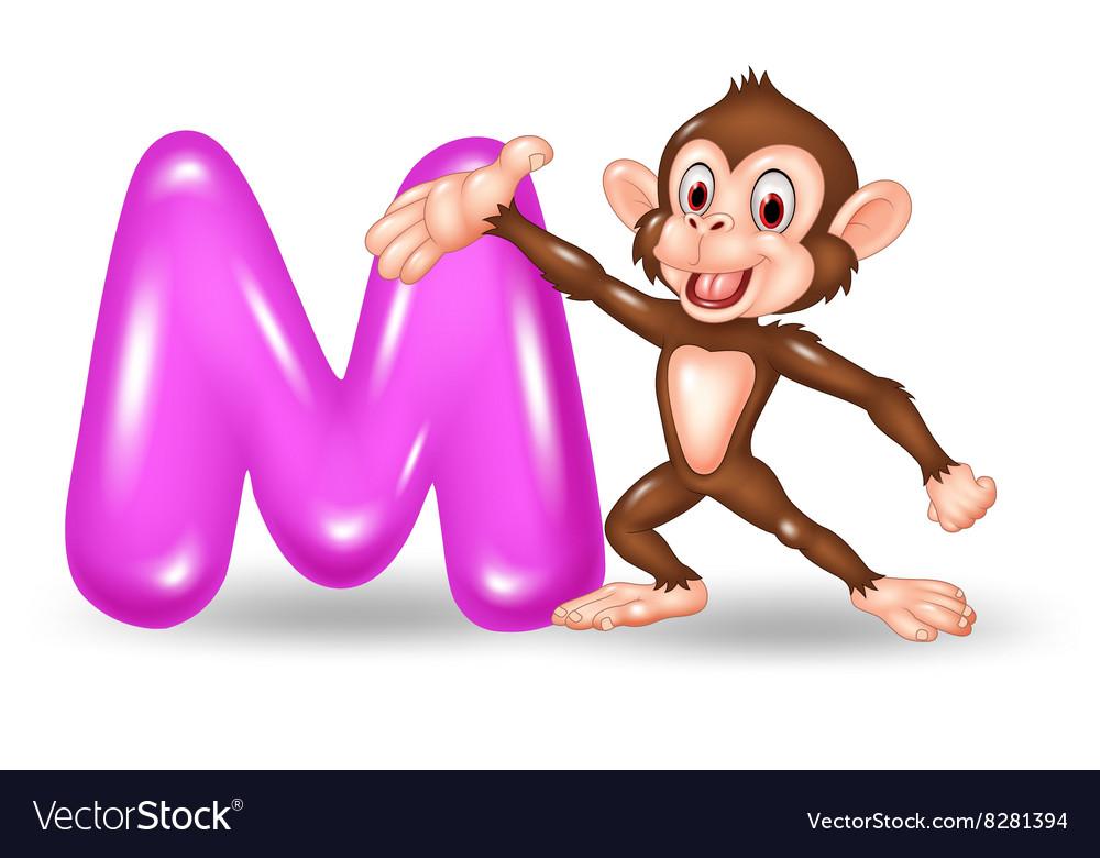 Cartoon of M letter for Monkey
