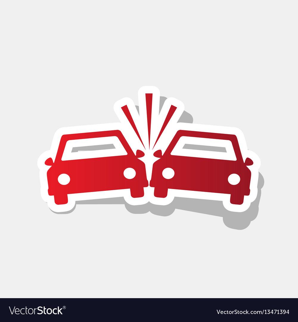 Crashed cars sign new year reddish icon vector image