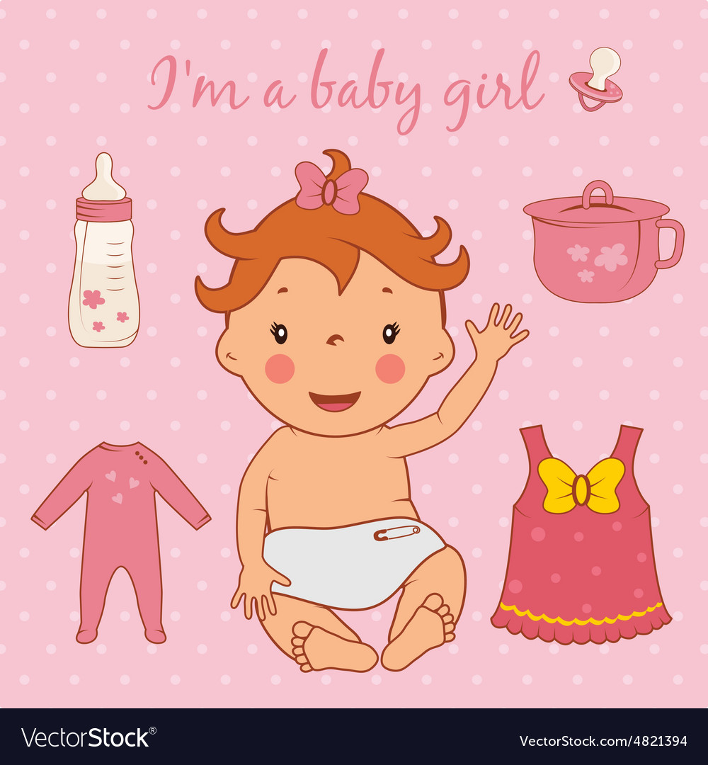 cute baby girl royalty free vector image - vectorstock