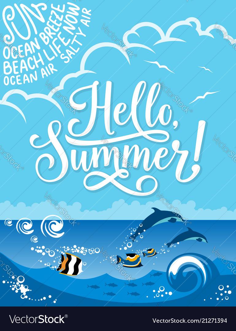 Hello summer banner for summertime holiday design