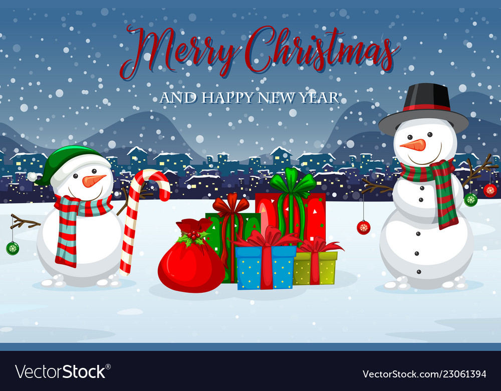 Merry christmas winter template vector