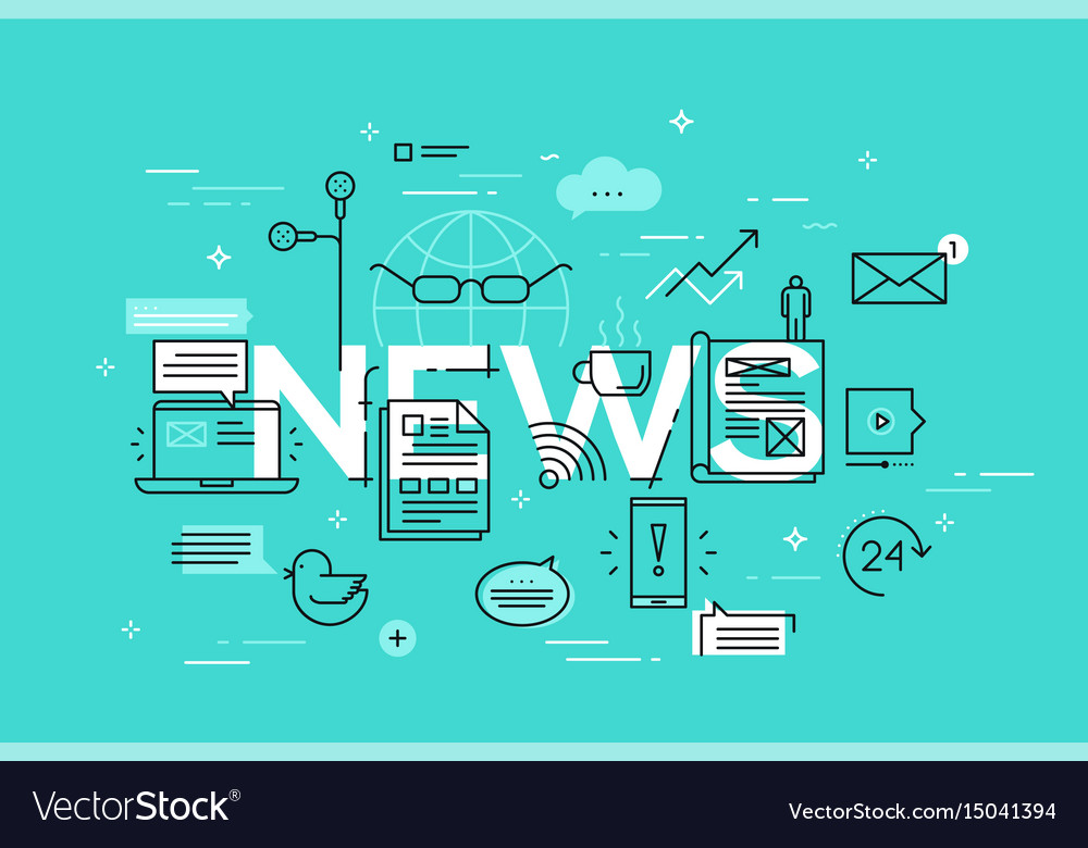 Modern thin line design concept for news website vector image