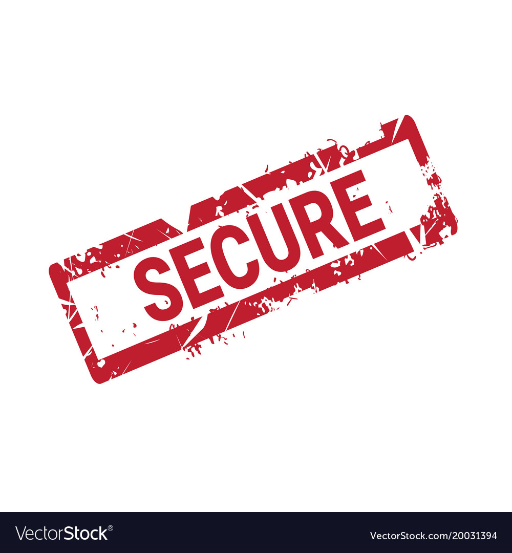 Secure stamp red grunge sticker or badge isolated