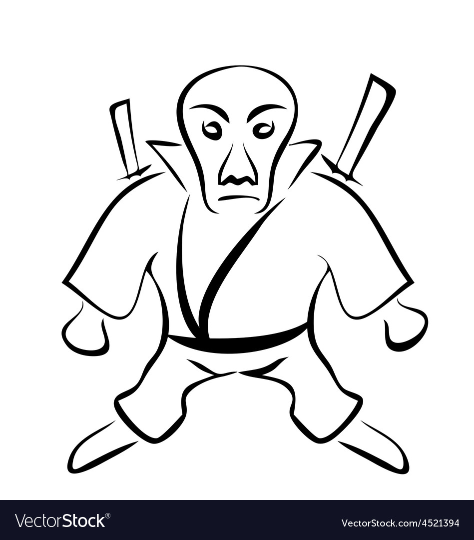 Sketch of Character Ninja Isolated on White vector image